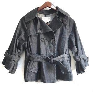 BCBGMaxAzria 3/4 Sleeve Denim Jacket Waist Tie XXS